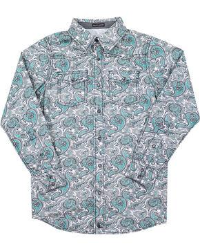 Cody James® Boys' Rodeo Paisley Long Sleeve Shirt, Grey, hi-res