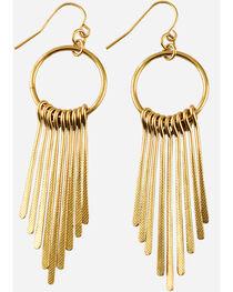 Shyanne Women's Gold Fringe Hoop Earrings, Gold, hi-res