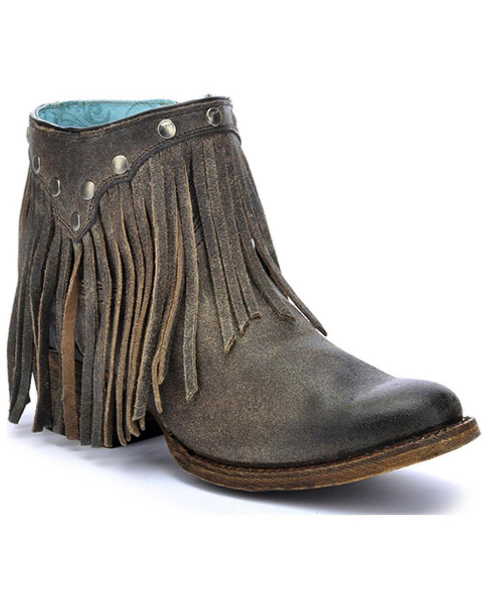 Corral Women's Fringe Round Toe Western Booties, Grey, hi-res
