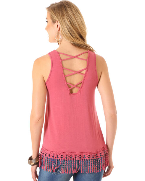 Wrangler Women's Crochet Hem and Crisscross Sleeveless Top, Pink, hi-res