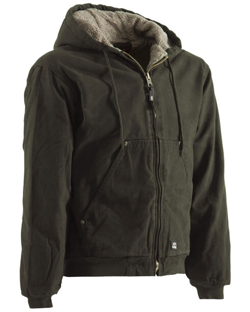 Berne High Country Hooded Jacket - Sherpa Lined - Tall Sizes, Olive Green, hi-res