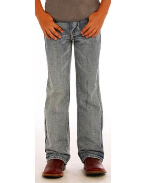 "Rock & Roll Cowboy Boys' Flying ""V"" Jeans - Boot Cut , Indigo, hi-res"