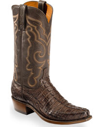 Lucchese Men's Brown Franklin Hornback Caiman Tail Boots - Snip Toe , , hi-res