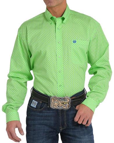 Cinch Men's Lime Printed Plain Weave Long Sleeve Button Down Shirt ...