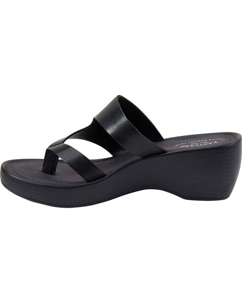 Eastland Women's Black Laurel Wedge Thong Sandals, Black, hi-res