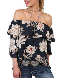 Moa Moa Women's Floral Off The Shoulder Long Sleeve Top, Black, hi-res