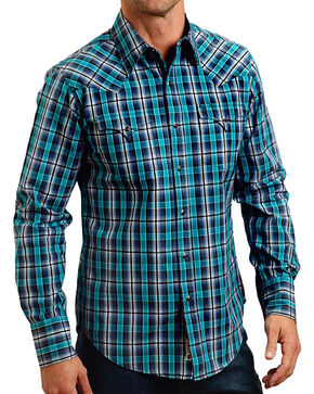 Stetson Men's Rugged Original Plaid Long Sleeve Shirt, Blue, hi-res