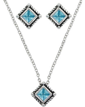 Montana Silversmiths Roped Blue Starlight Jewelry Set, Silver, hi-res