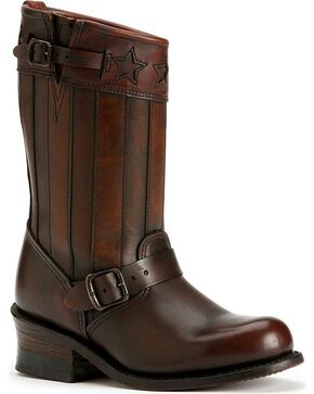 Frye Women's Engineer Americana Short Western Boots, Dark Brown, hi-res