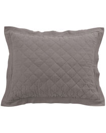 HiEnd Accents Diamond Pattern Quilted Grey Linen King Sham, , hi-res