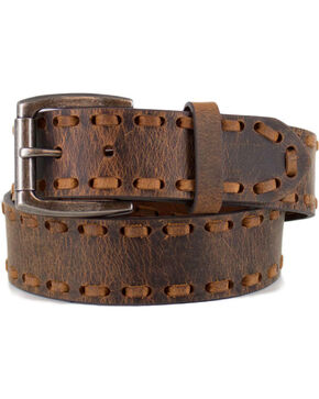 Cody James® Men's Whip-Stitch Belt, Brown, hi-res