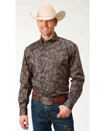 Roper Men's Paisley Print Long Sleeve Button Down Shirt - Big & Tall, , hi-res