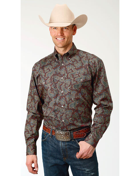 Roper Men's Paisley Print Long Sleeve Button Down Shirt - Big & Tall, Multi, hi-res