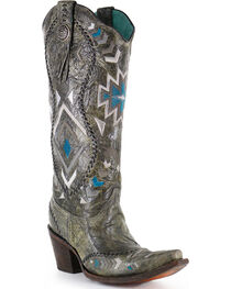 "Corral Boots Women's 15"" Aztec Embroidered Western Boots - Snip Toe, , hi-res"