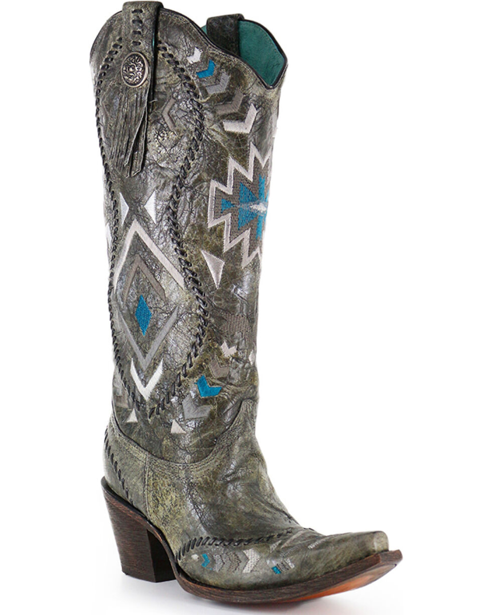 """Corral Boots Women's 15"""" Aztec Embroidered Western Boots - Snip Toe, , hi-res"""