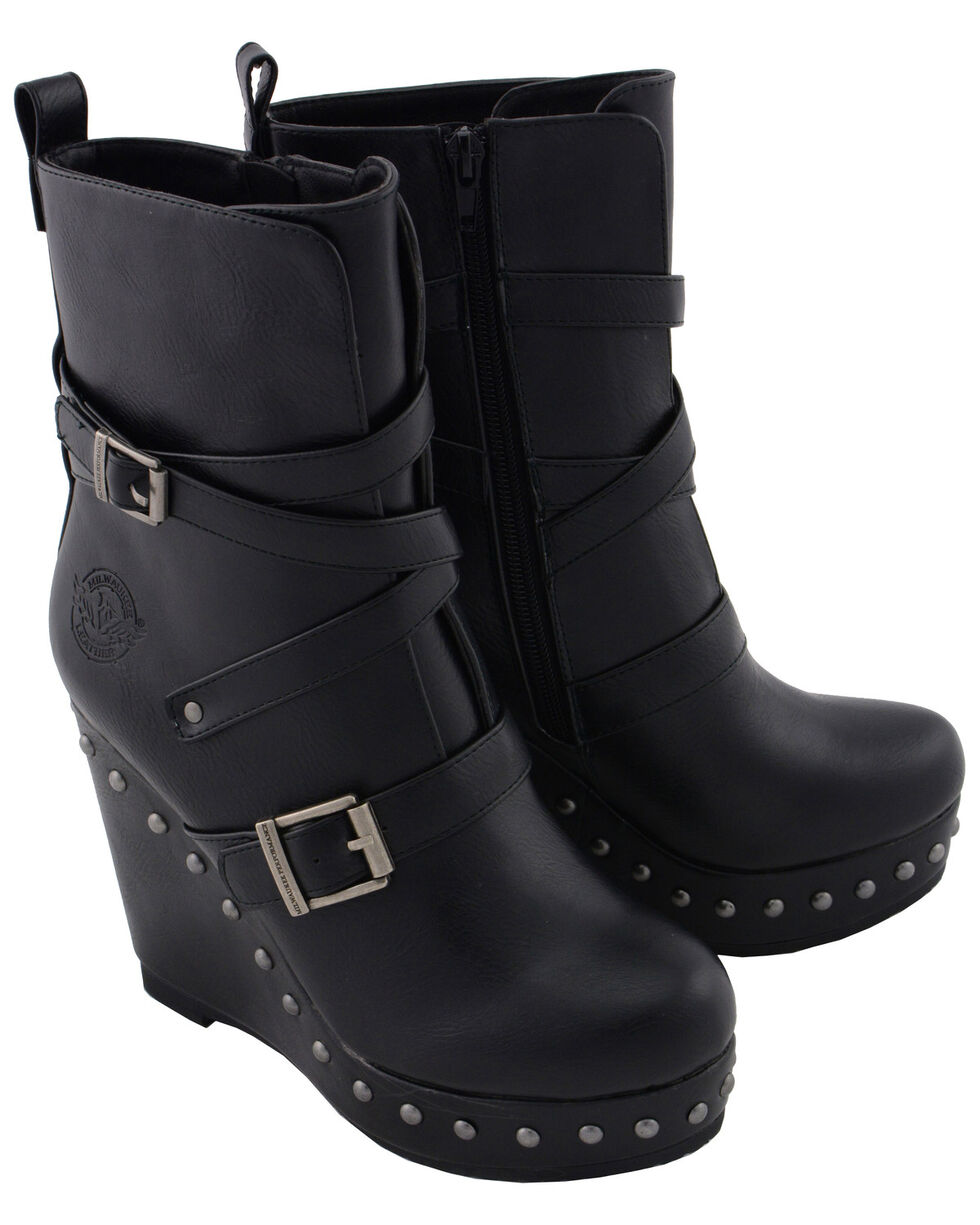 Milwaukee Leather Women's Women's Triple Strap Wedge Boots - Round Toe, Black, hi-res