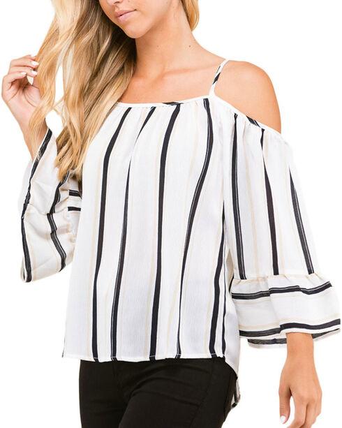 Polagram Women's Striped Cold Shoulder Long Sleeve Top, Ivory, hi-res