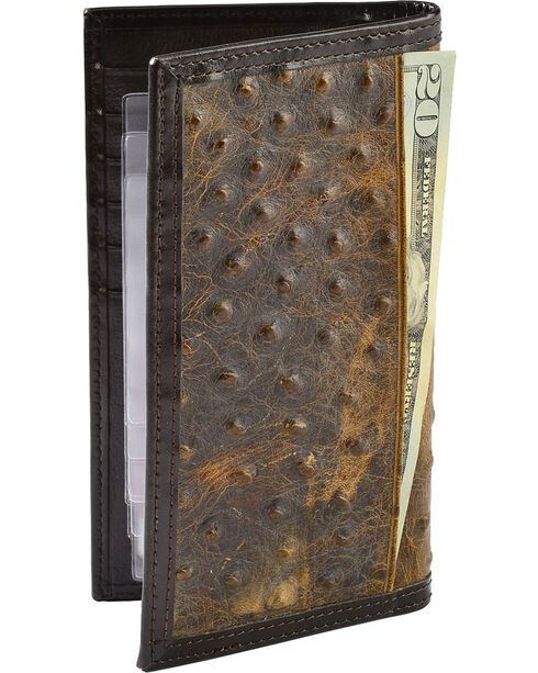 Nocona Men's Ostrich Rodeo Wallet and Checkbook Cover, Brown, hi-res