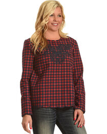 MI. OH. MI. Women's Plaid Embroidered Long Sleeve Top, , hi-res