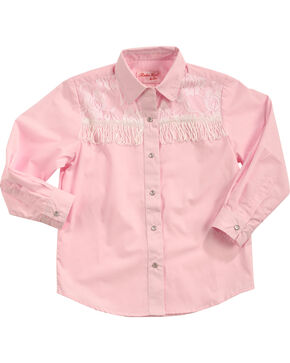 Red Ranch Girls' Pink Lace Yoke Fringe Shirt , Pink, hi-res