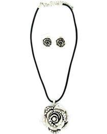 Blazin Roxx Rhinestone Rose Necklace & Earrings Set, , hi-res