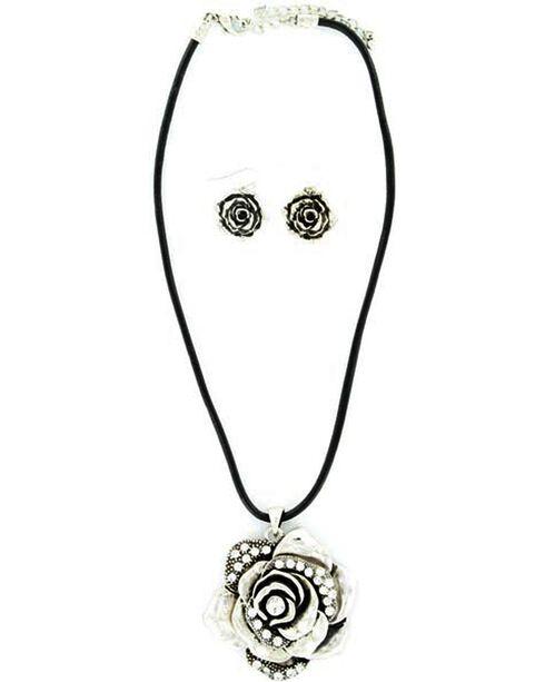 Blazin Roxx Rhinestone Rose Necklace & Earrings Set, Silver, hi-res