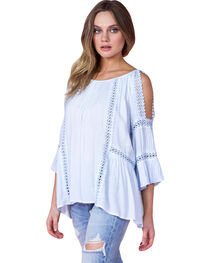 Miss Me Women's Light Blue Bell Sleeve Peasant Top, , hi-res