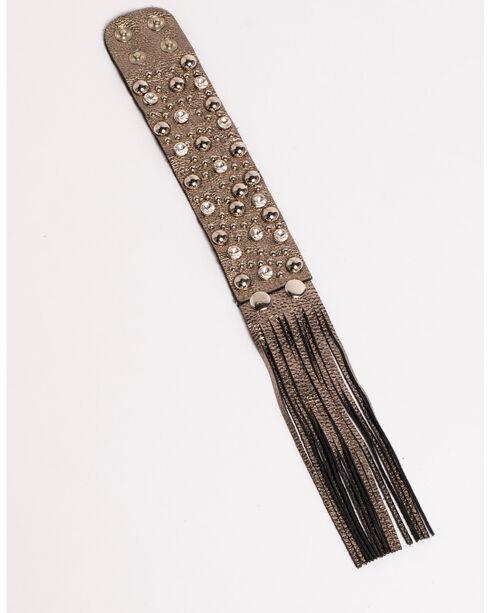 Shyanne® Women's Faux Leather Fringe Cuff Bracelet, Silver, hi-res