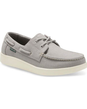 Eastland Men's Popham Canvas Boat Shoes - Moc Toe, Grey, hi-res