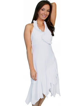 Scully Women's Ruffled Halter Dress, White, hi-res