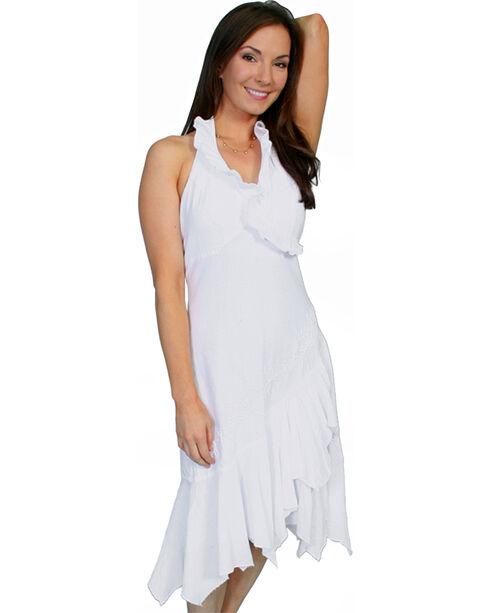 Scully Women's Ruffled Halter Dress, White, hi-res