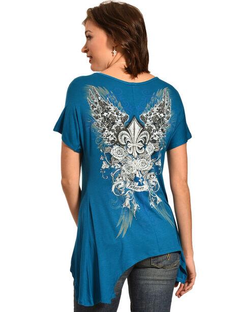 Liberty Wear Women's Fleur-de-Lis Teal Top, Teal, hi-res