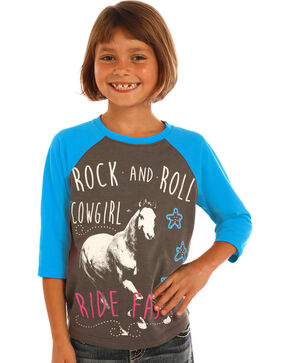 Rock & Roll Cowgirl Girls' Blue Ride Fast Baseball Tee, Blue, hi-res