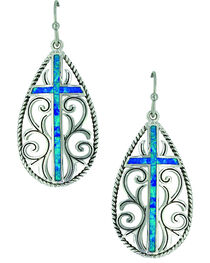 Montana Silversmiths Women's Filigree Water Lights Cross Earrings , , hi-res