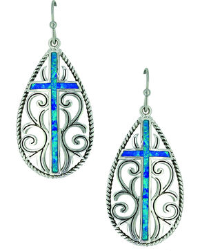 Montana Silversmiths Women's Filigree Water Lights Cross Earrings , Silver, hi-res