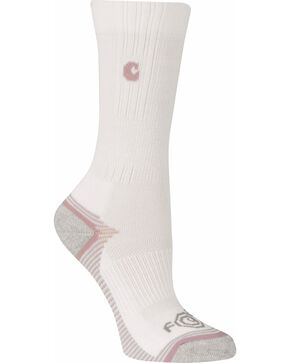 Carhartt Girls' White Force & Performance 3-Pack Crew Socks, White, hi-res