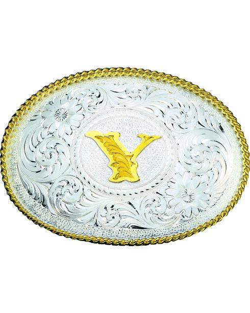 Montana Silversmiths Engraved Initial Y Western Belt Buckle, Multi, hi-res