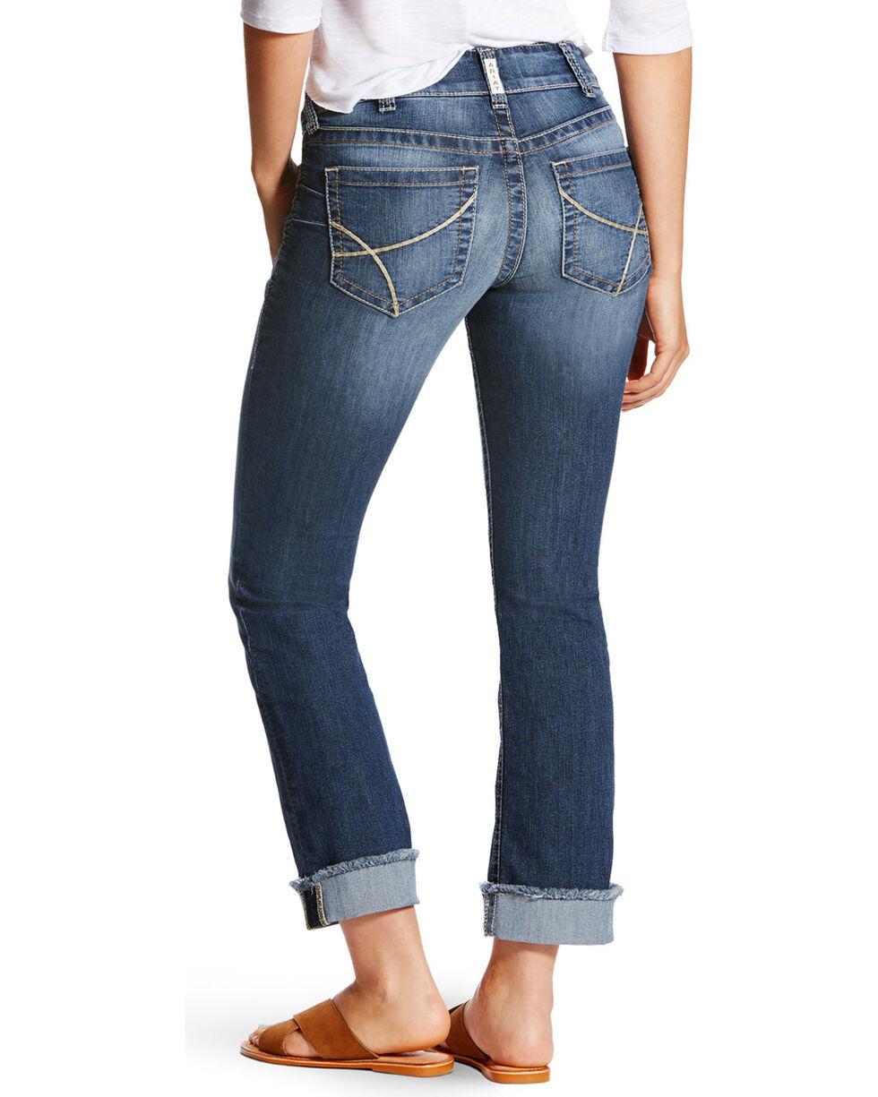 Ariat Women's R.E.A.L Baseball Stitch Stackable Straight Leg Jeans, Blue, hi-res