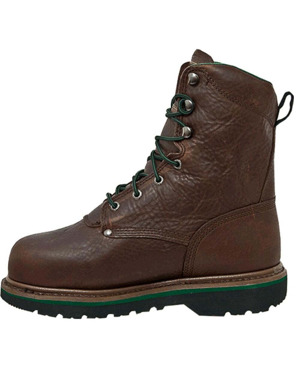 """John Deere® Men's 8"""" Steel Toe Work Lace-Up Boots, Brown, hi-res"""