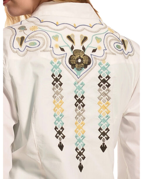Ryan Michael Women's Aztec Embroidery Shirt, Salt, hi-res