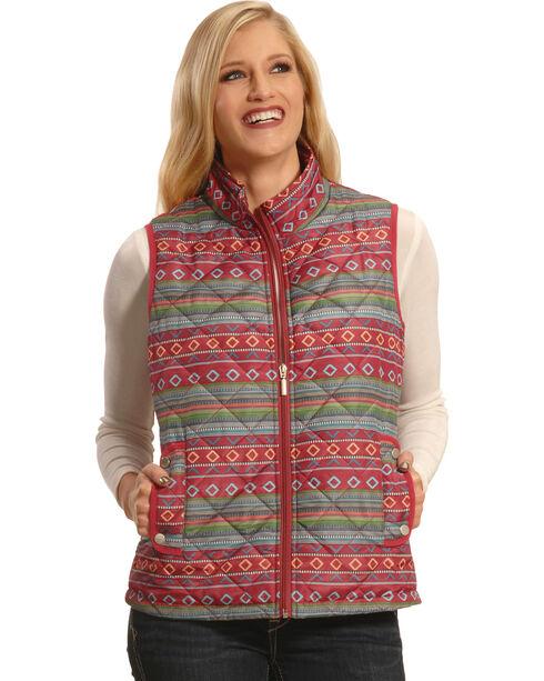 Jane Ashley Women's Quilted Southwestern Print Vest , Print, hi-res