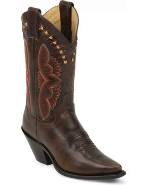 Justin Leather Laced Torino Cowgirl Boots - Snip Toe, Brown, hi-res