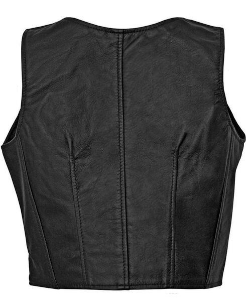 Milwaukee Women's Illusion Studded Leather Motorcycle Vest, Black, hi-res