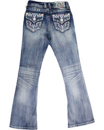 Grace In LA Girls' Embroidered Mid-Rise Boot Cut Jeans, , hi-res