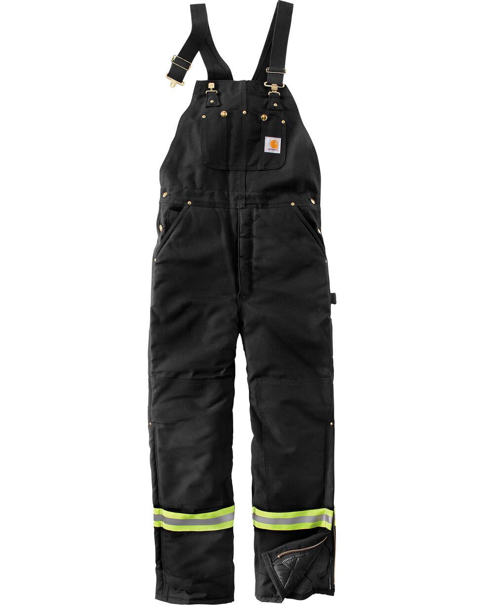 Carhartt Men's High-Visibility Striped Duck Bib Lined Overalls , Black, hi-res