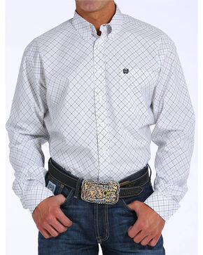 Cinch Men's White Plaid Long Sleeve Shirt, White, hi-res