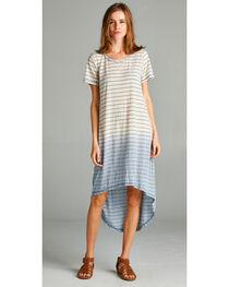 Hyku Women's Blue Dip Dyed Hi-Lo Dress, , hi-res