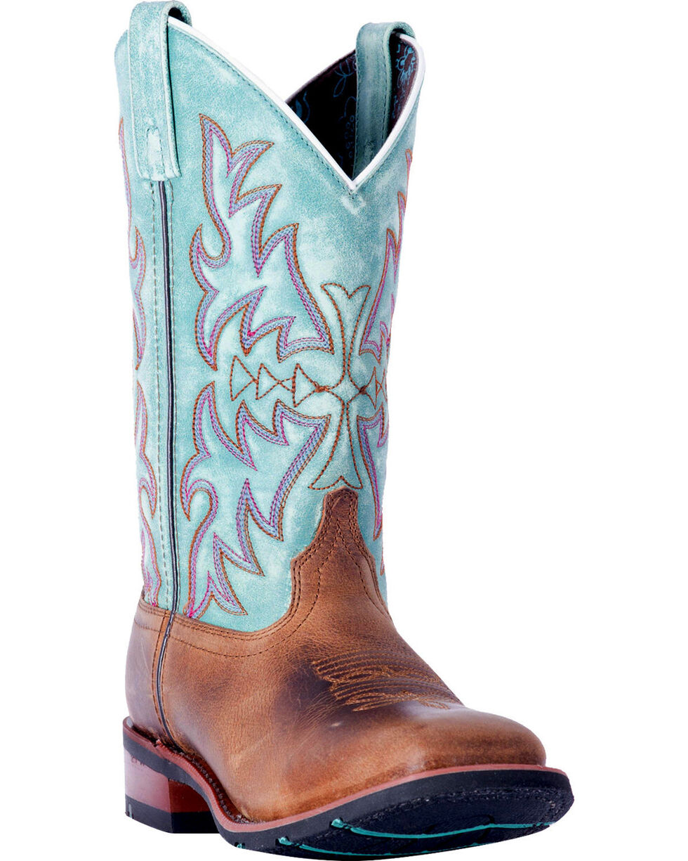 Laredo Women's Anita Brown/Blue Cowgirl Boots - Square Toe , , hi-res