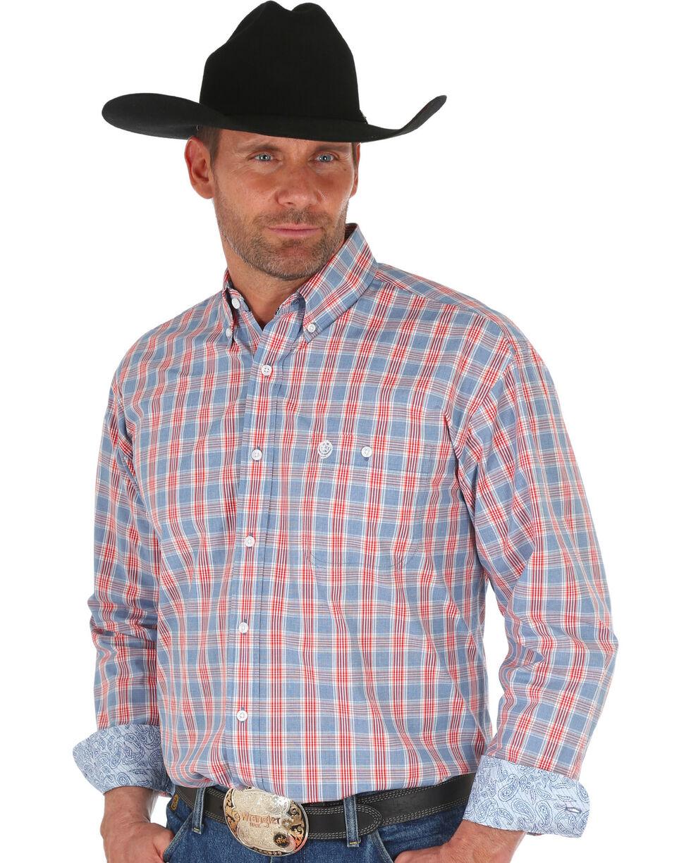 Wrangler George Strait Men's Blue Plaid Shirt , Blue, hi-res