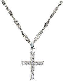 Montana Silversmiths Rhinestone Cross Pendant Necklace, Silver, hi-res